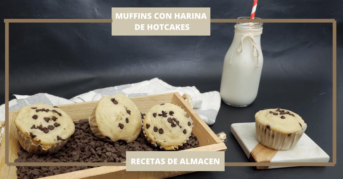 MUFFINS DE HARINA DE HOTCAKES CON CHOCOLATE